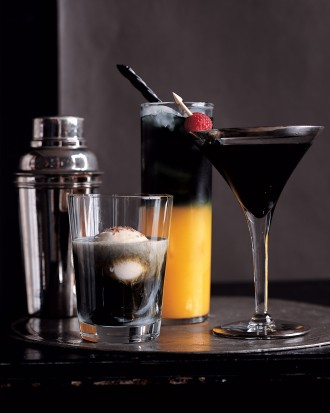 Make a variation of drinks with Black Vodka! So awesome. [Martha Stewart]