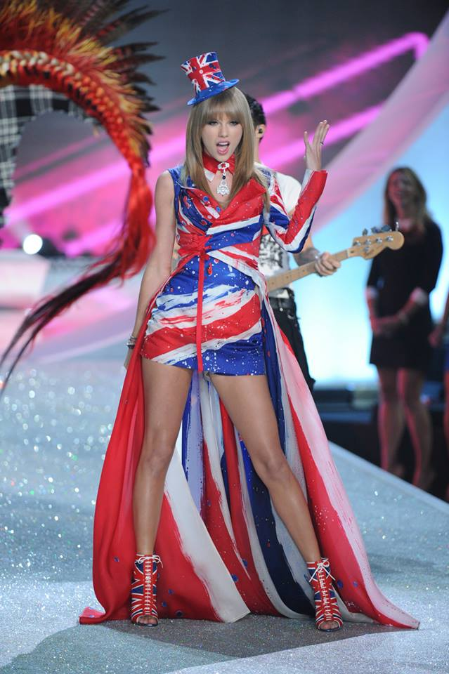 """Taylor Swift sang with Fall Out Boy in the """"British Invasion"""" section. Loved her British Flag outfit here!"""